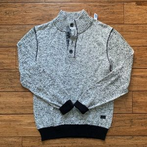 Buffalo David Bitton Sweaters - Grey Marled Button Turtleneck Sweater Black Trim